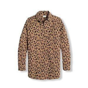 J. Crew Popover Tunic Top Shirt High Low Leopard S